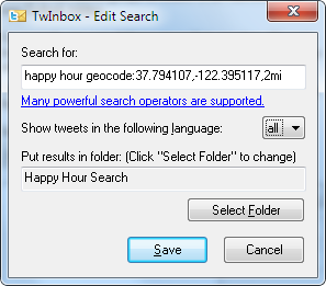 TwInbox location-based search using geocode