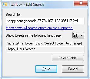 TwInbox location-based search using geocode