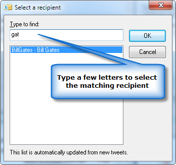 Type a few letters to select a @recipient