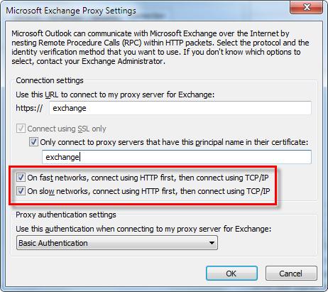 Exchange Proxy Settings Connect Options