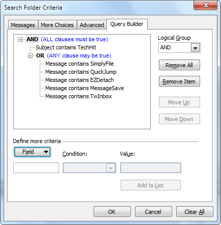 Outlook QueryBuilder Example