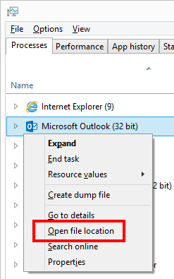 Outlook Open File Location